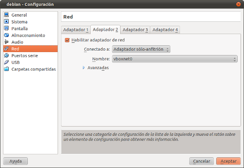 Configuración de red en Virtualbox